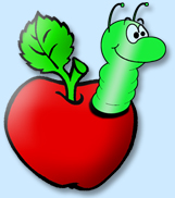 Drawing of an Apple with a Worm
