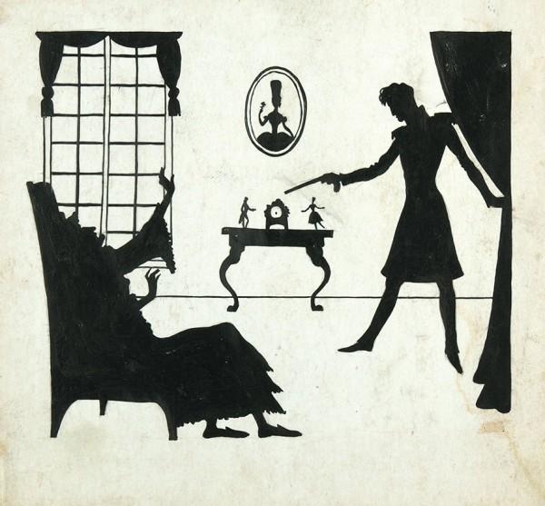 М. Кирнарский. Силуэт со сценой из спектакля «Пиковая дама». В спальне графини