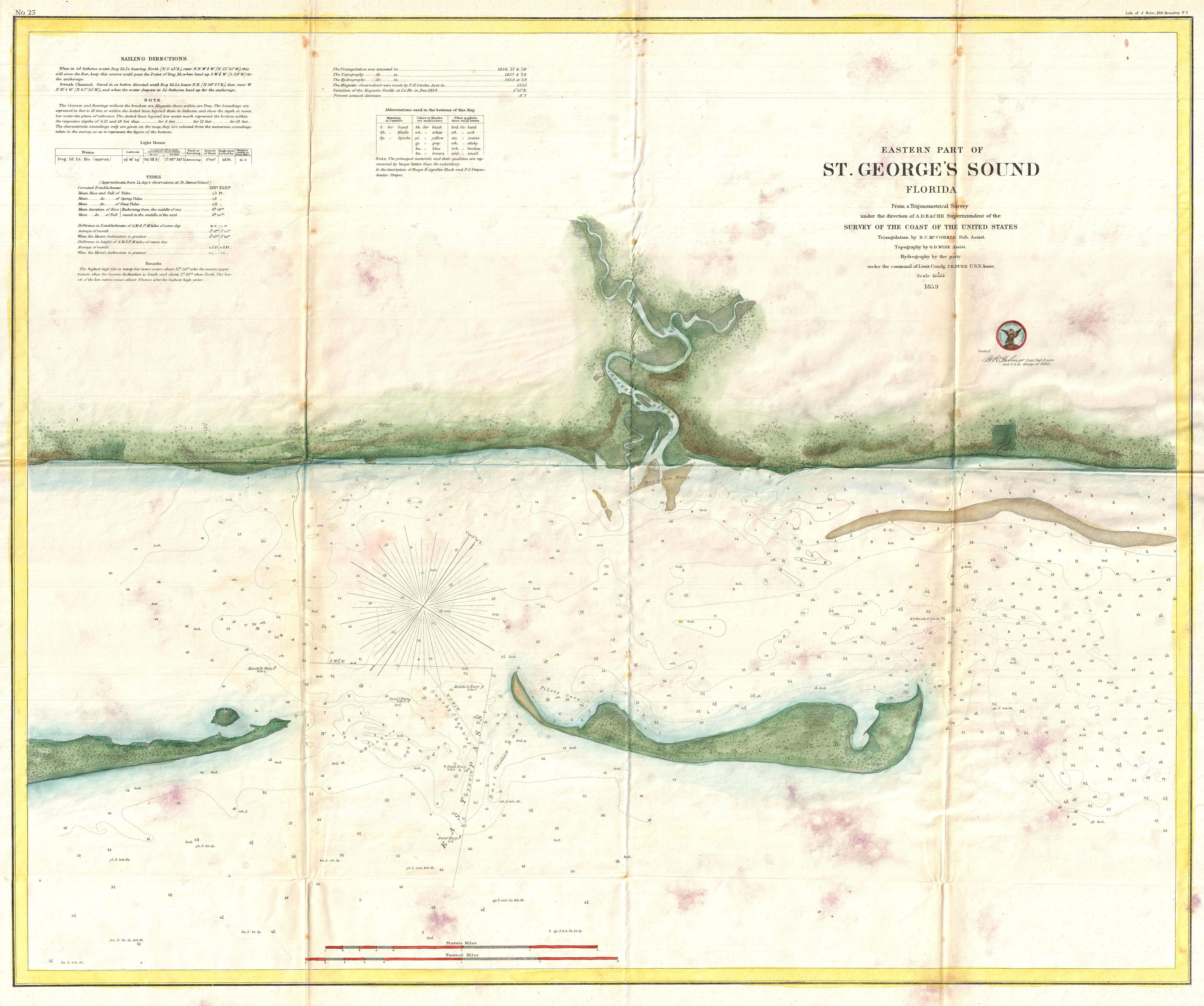File US Coast Survey Map Of St George Sound Florida - Map florida counties 2011