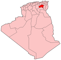 Map of Algeria showing Batna province.