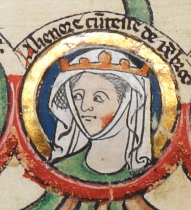 Eleanor of England, who married Montfort in 1238. Depicted in the early fourteenth-century Genealogical Roll of the Kings of England. Alienor Pembroke.jpg