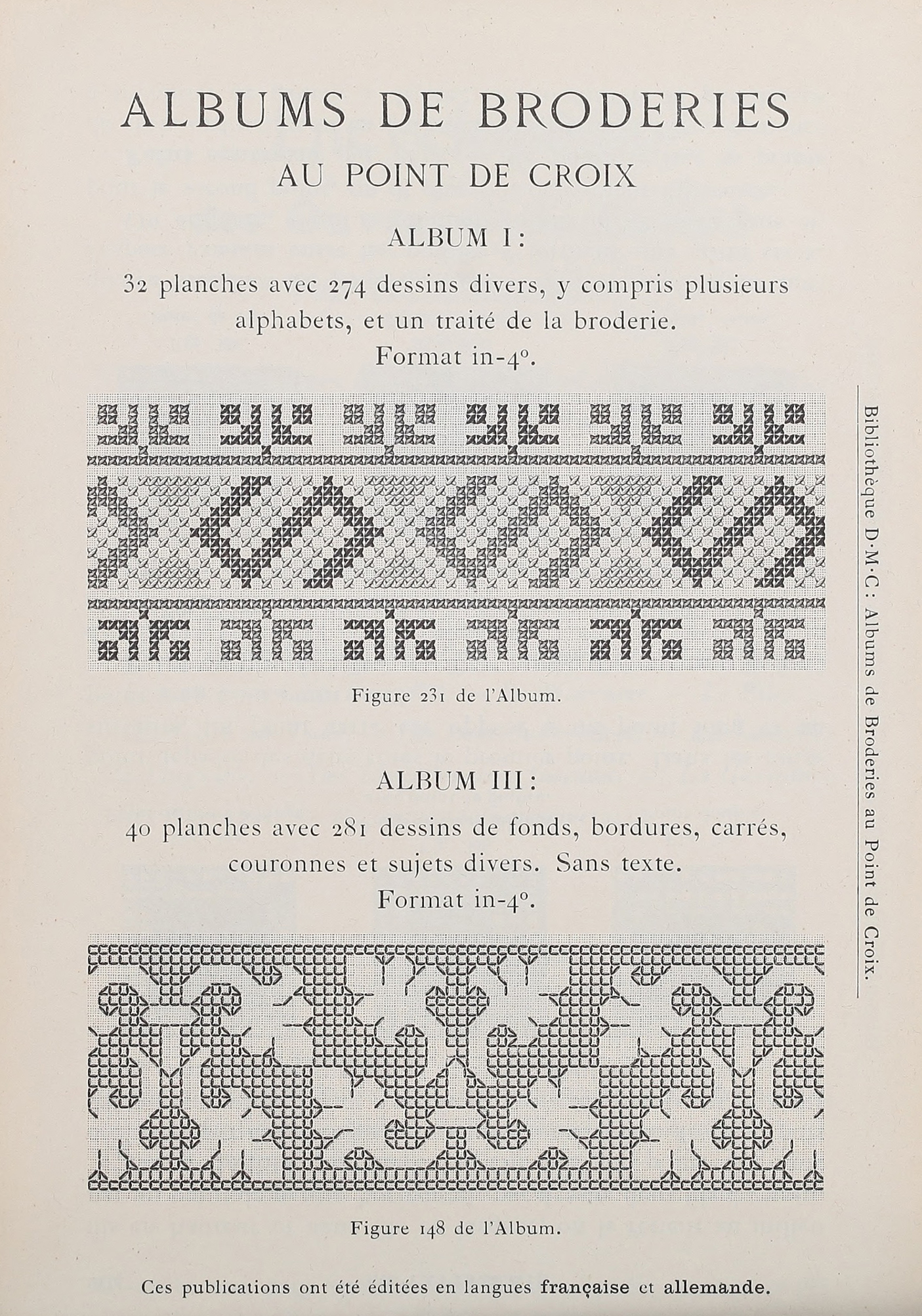 File Bibliothèque Dmc 02 Albums De Broderies Au Point De Croix I Ii Jpg Wikimedia Commons