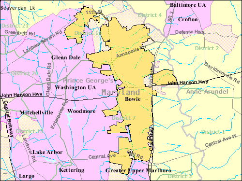 Bowie Maryland Wikiwand - Maryland map with counties and cities