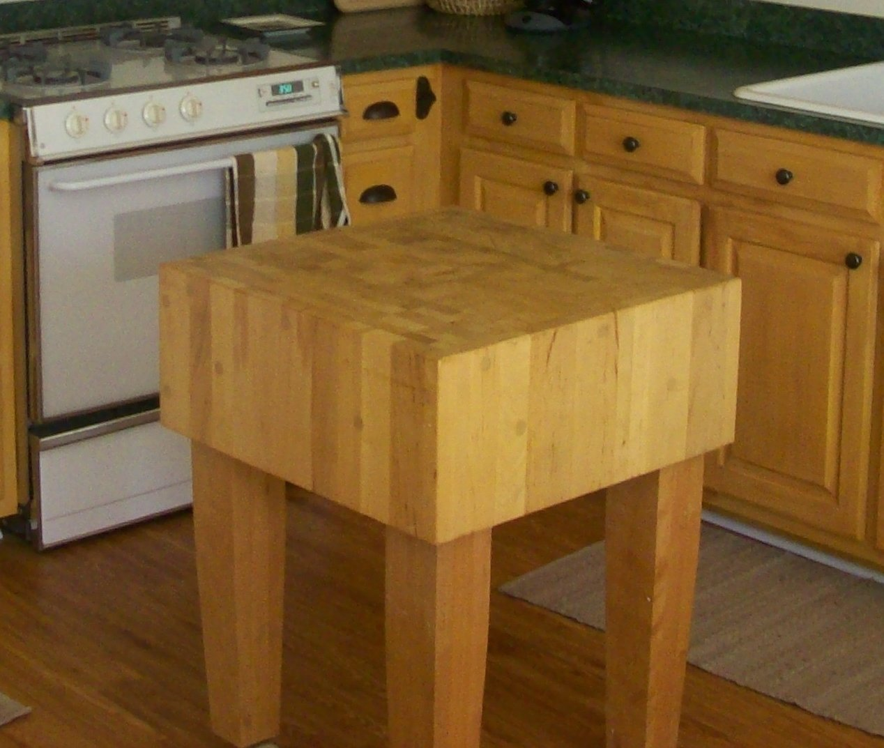 Butcher Block Kitchen Island With Bifold Door Diy Upcycle