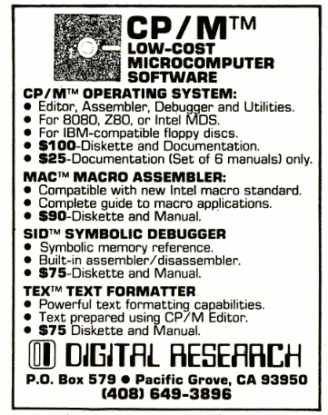CP/M advertisement in December 11, 1978 issue of InfoWorld magazine
