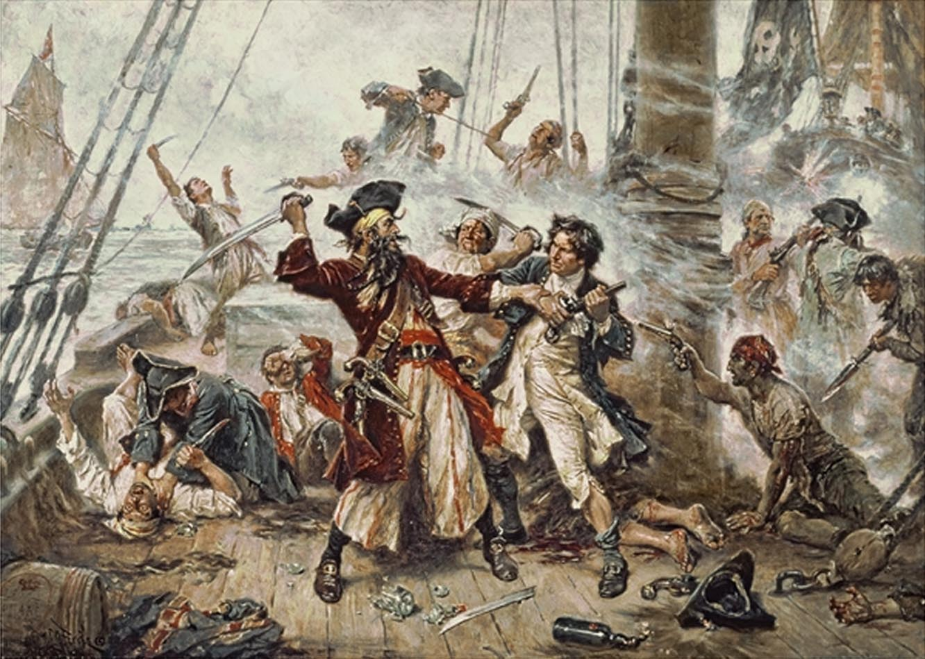"""Capture of the Pirate, Blackbeard, 1718,"" painted by Jean Leon Gerome Ferris in 1920"