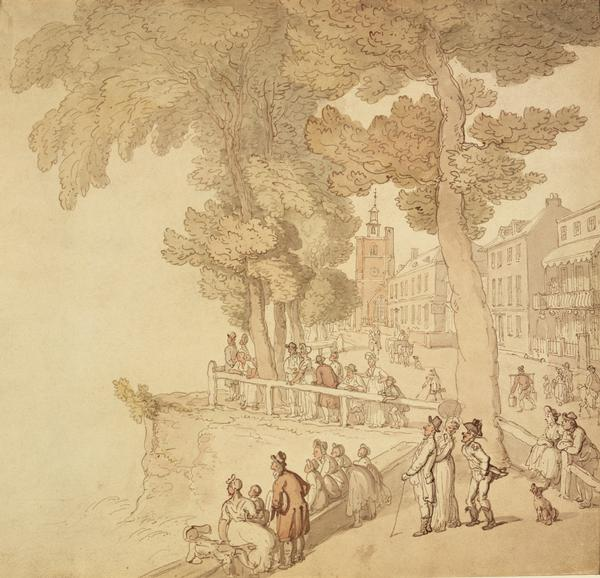 File:Cheyne Walk, London, c late 18th-early 19th century. People strolling by the banks of the River Thames in the distance is Chelsea Old Church MoL.jpg