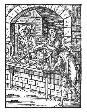 Woodcut of early modern clockmakers, 1568 Clockmakers by Jost Amman.png