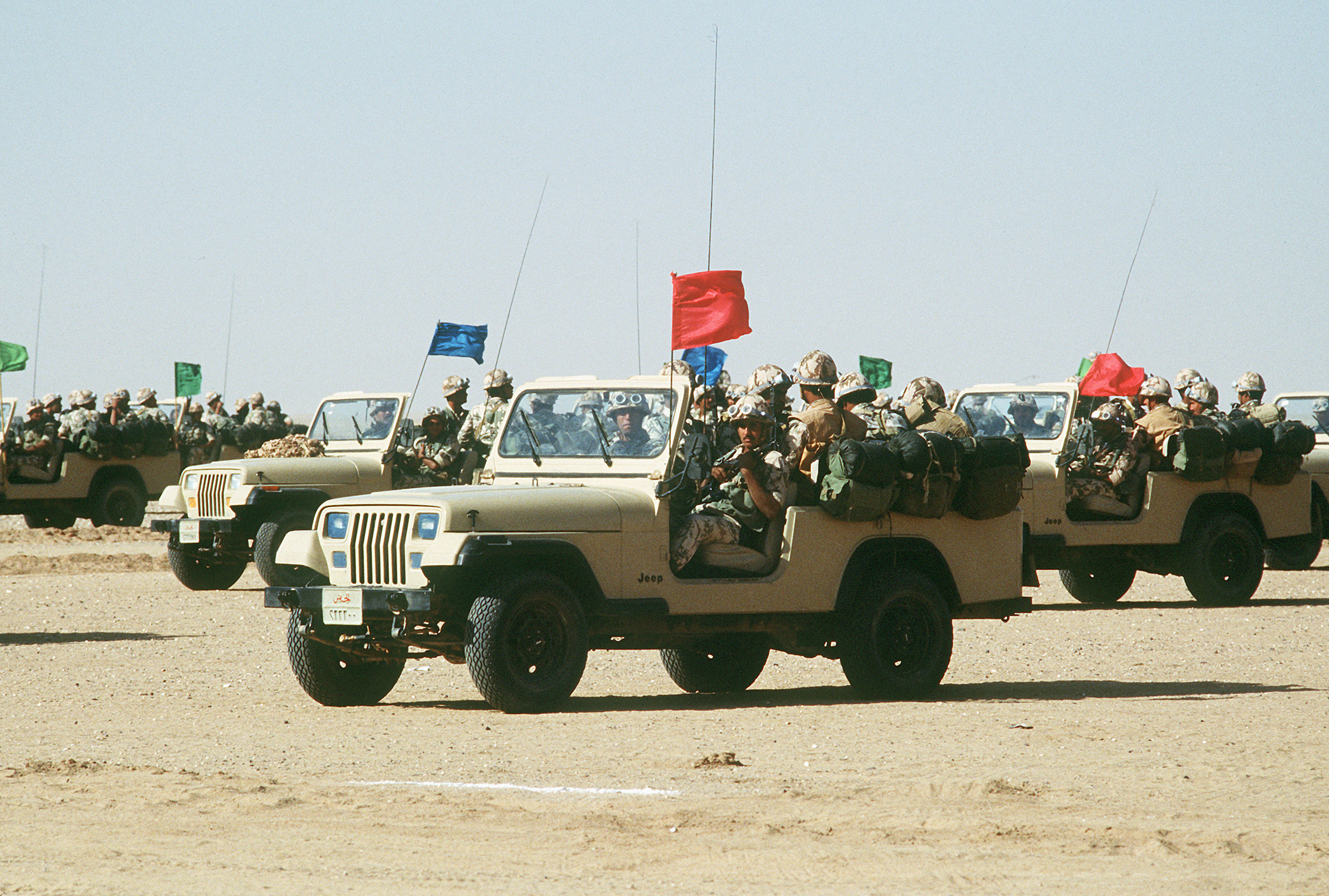 File Crews Of An Egyptian Ranger Battalion Parade In Jeep