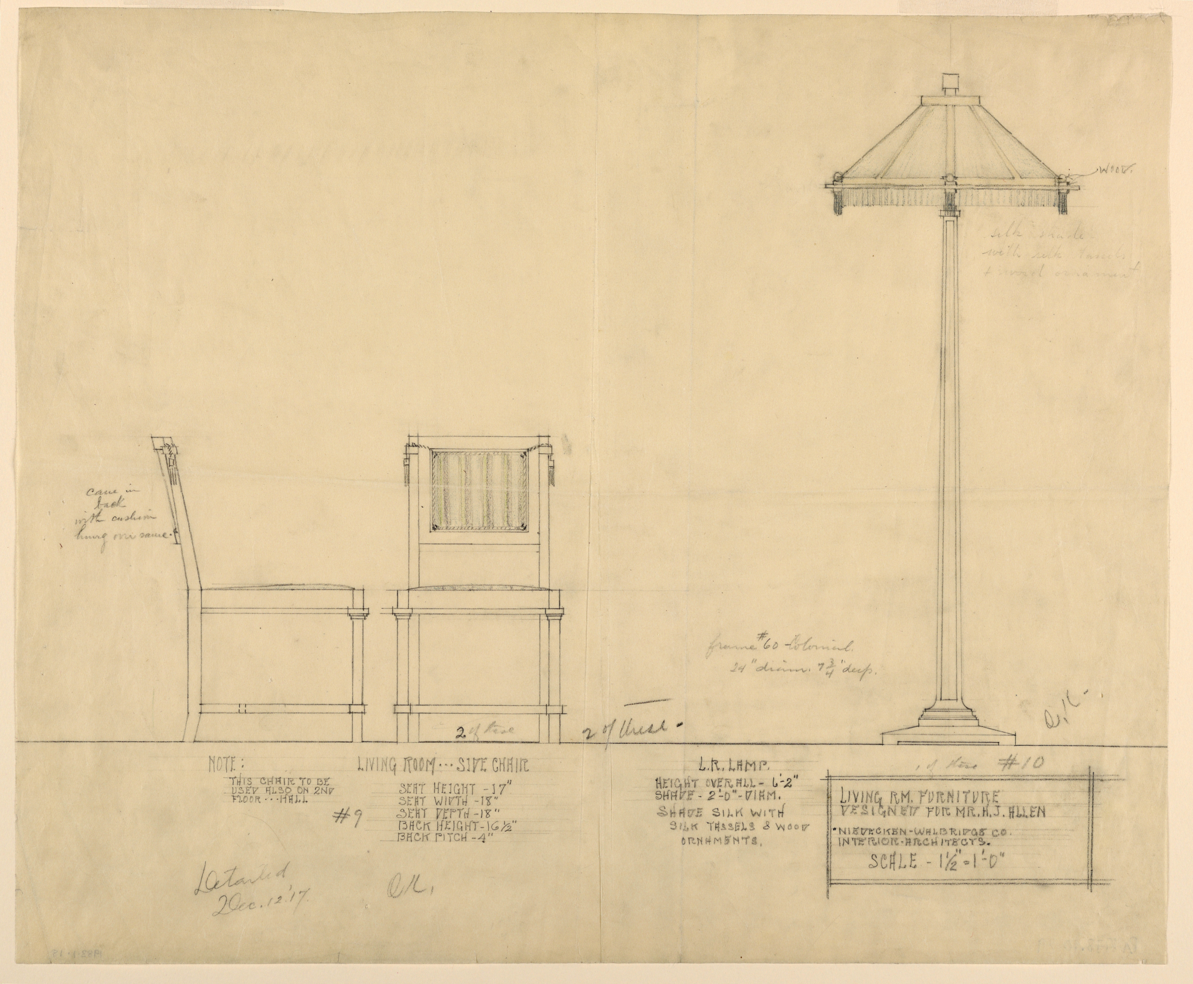 File:Drawing, Living Room Furniture, Henry J. Allen Residence, Wichita,