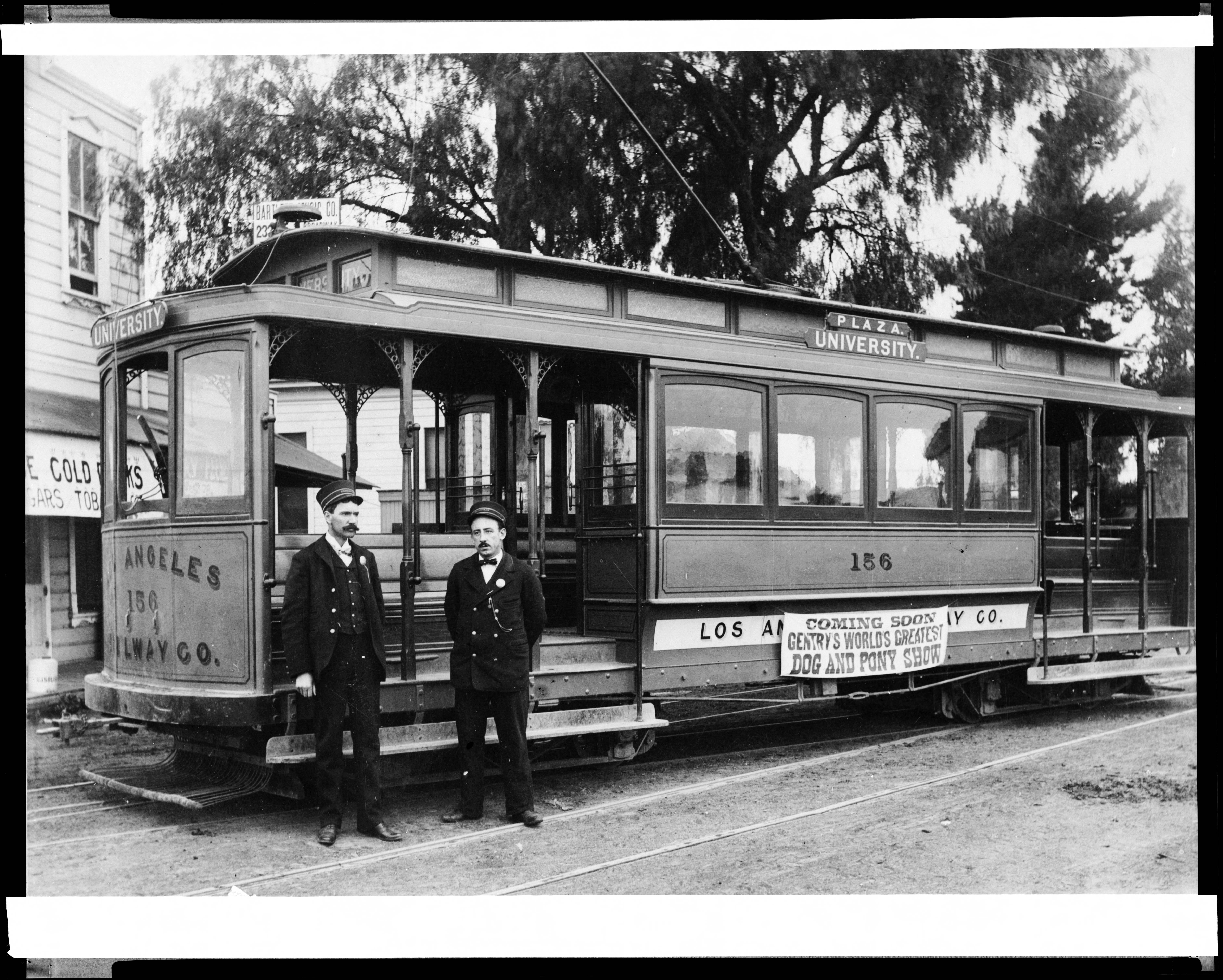 fileexternal view of a plaza university trolley car of the los angeles railway company