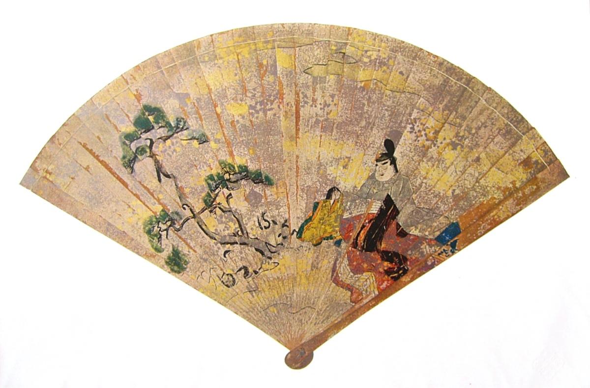 Sypressiviuhka, joka on maalattu ja kullattu, ja peräisin 1100-luvulta, Heian-kaudelta