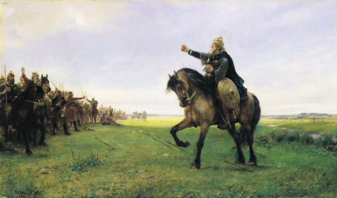 Готский конунг призывает своих воинов на бой с гуннами