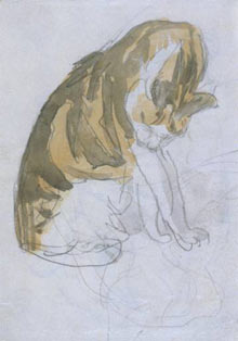 Cat Cleaning Itself, ca. 1905–08, pencil and watercolour