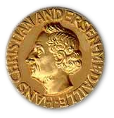 A golden medallion with an embossed image featuring a bust of Andersen.