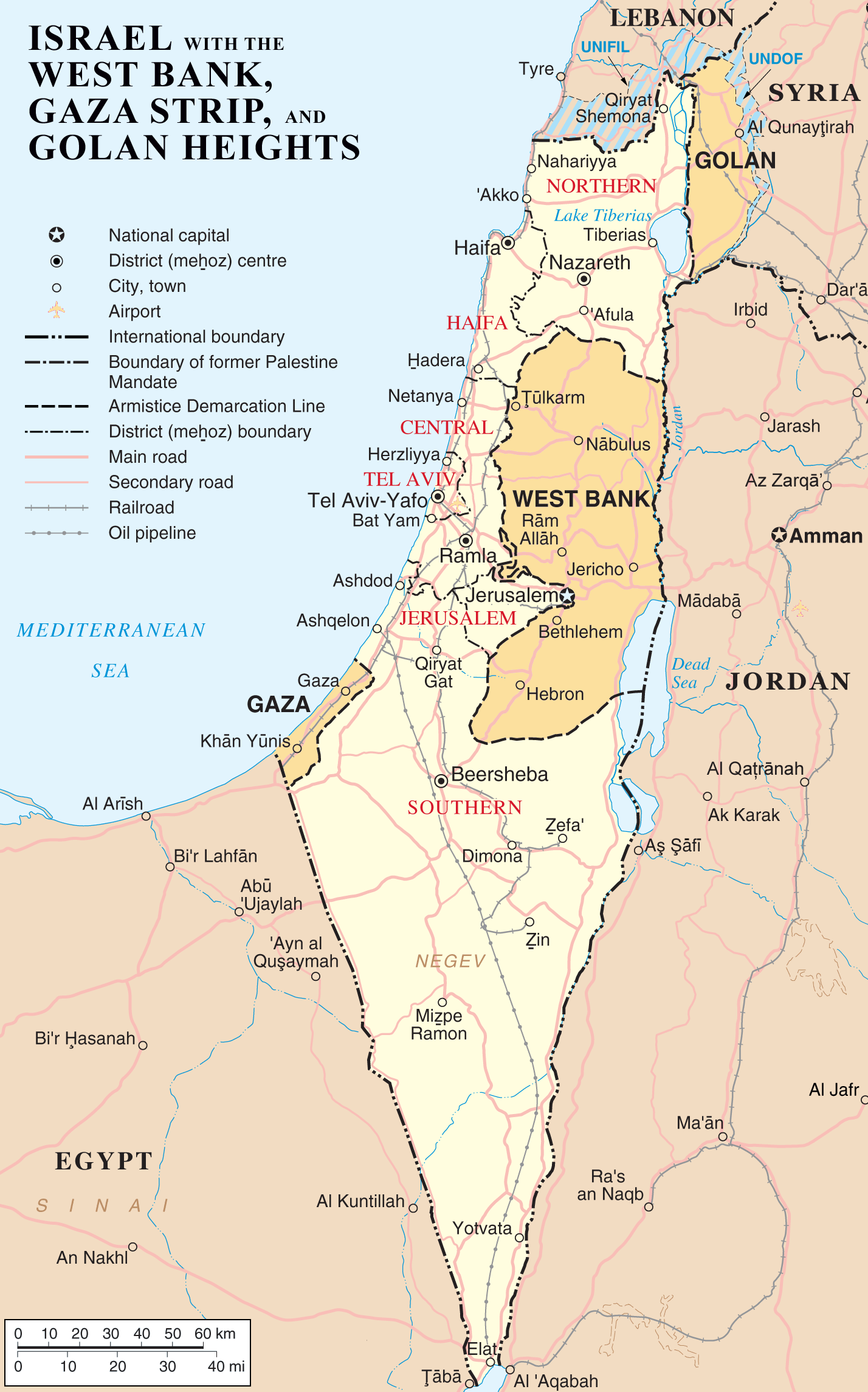 Map of Israel with the West Bank, Gaza Strip, and Golan Heights