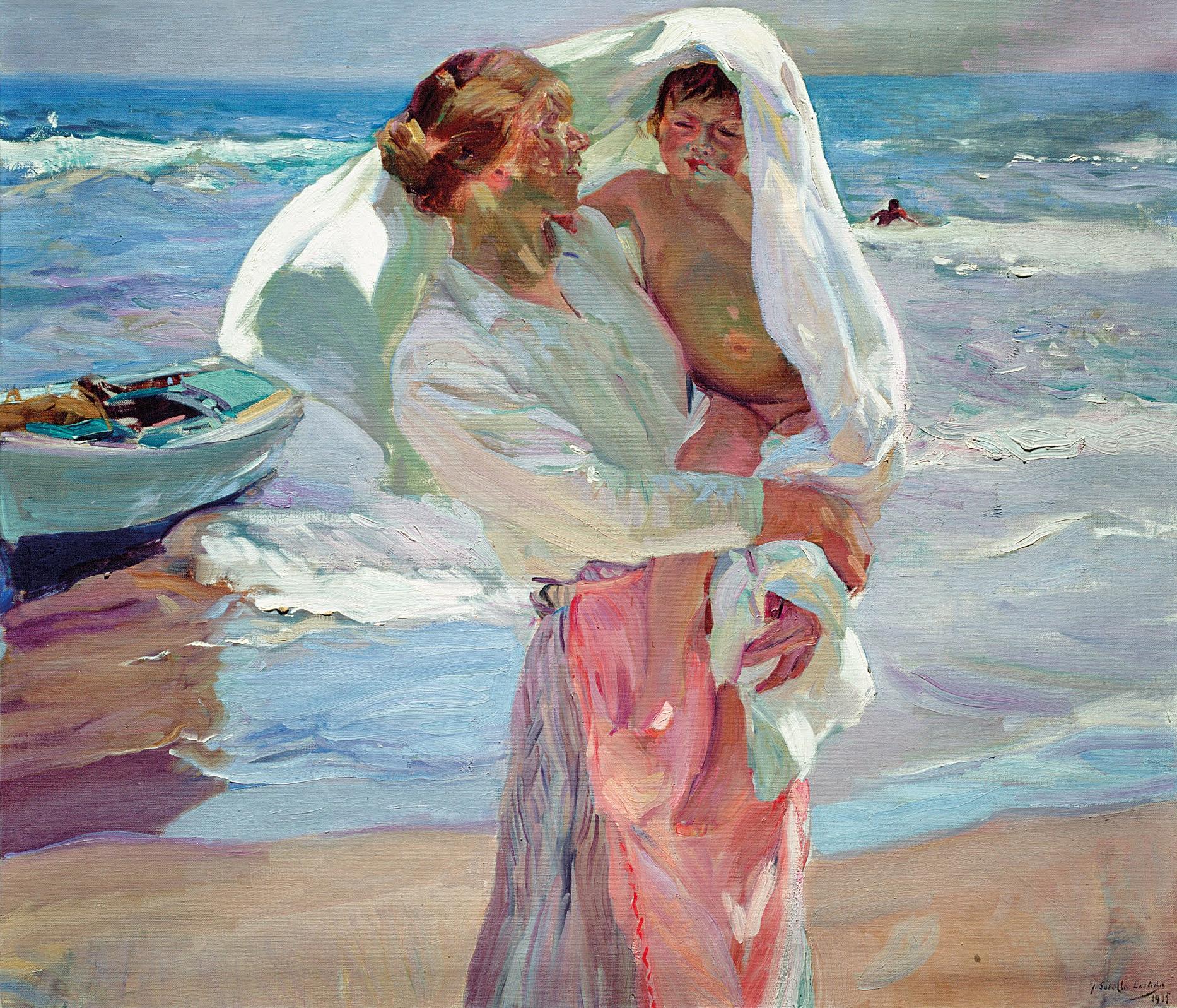 Resultado de imagen de mujer con niño en la playa sorolla