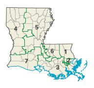Louisiana districts in these elections
