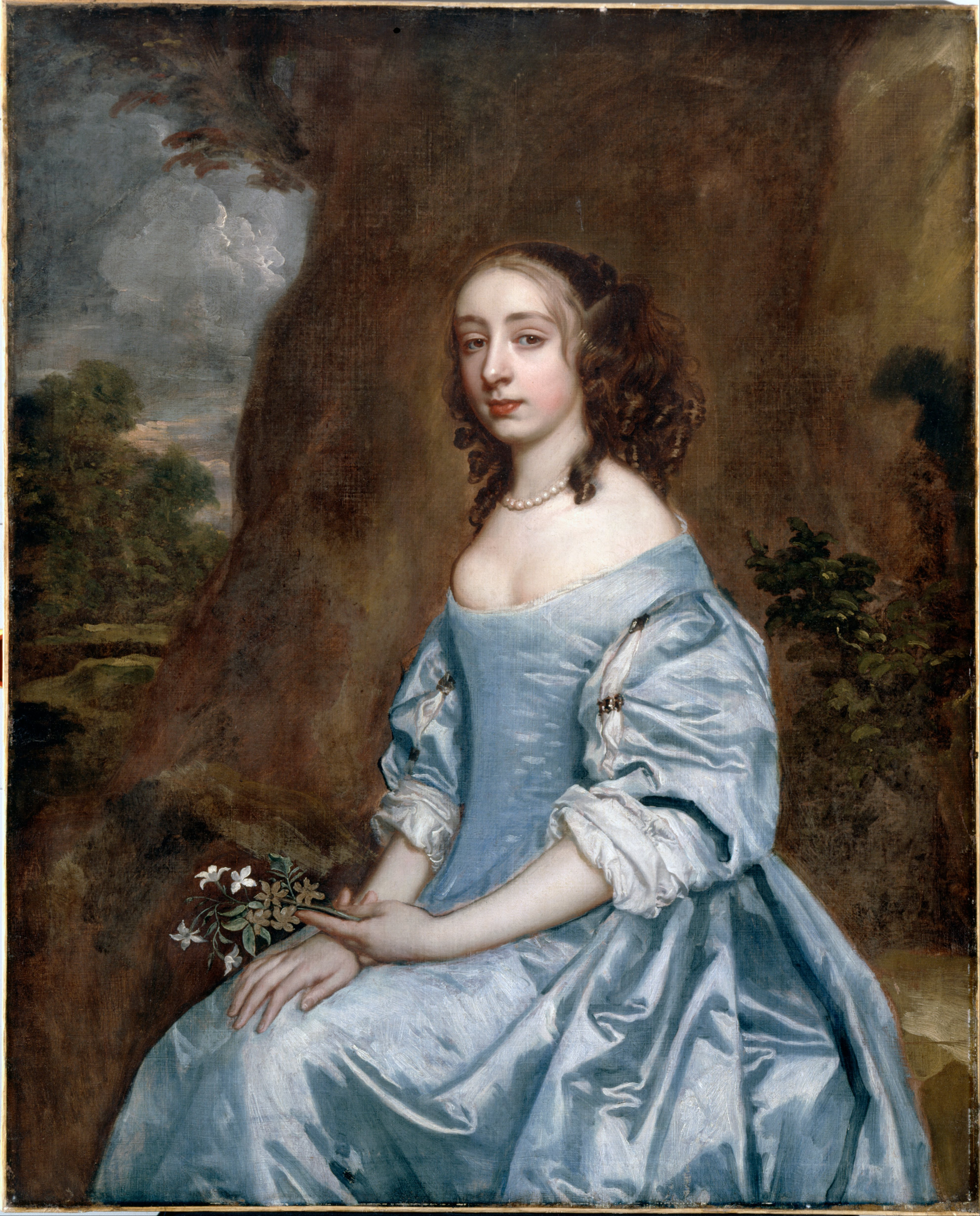 file lely  sir peter - portrait of a lady in blue holding a flower