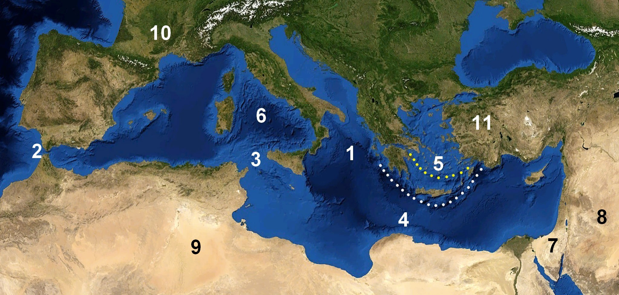 Blank map of mediterranean basin