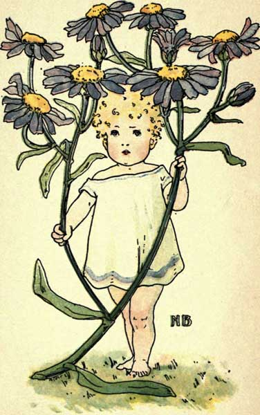 An image of a little girl holding a Michaelmas daisy.