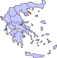 A map of Greece with Mount Athos shown in red