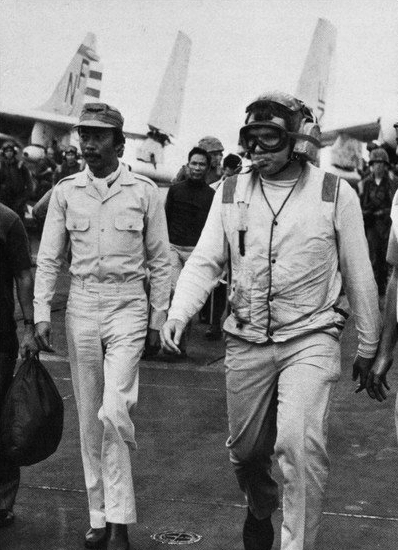 Ky aboard USS Midway during Operation Frequent Wind in April 1975. Nguyen Cao Ky on USS Midway (CVA-41) in 1975.jpg