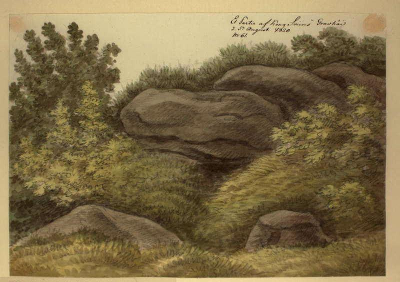 Ole Jørgen Rawert - Et Partie af Kong Sviins Gravhöi d 5 August 1820. No. 61 RA000433