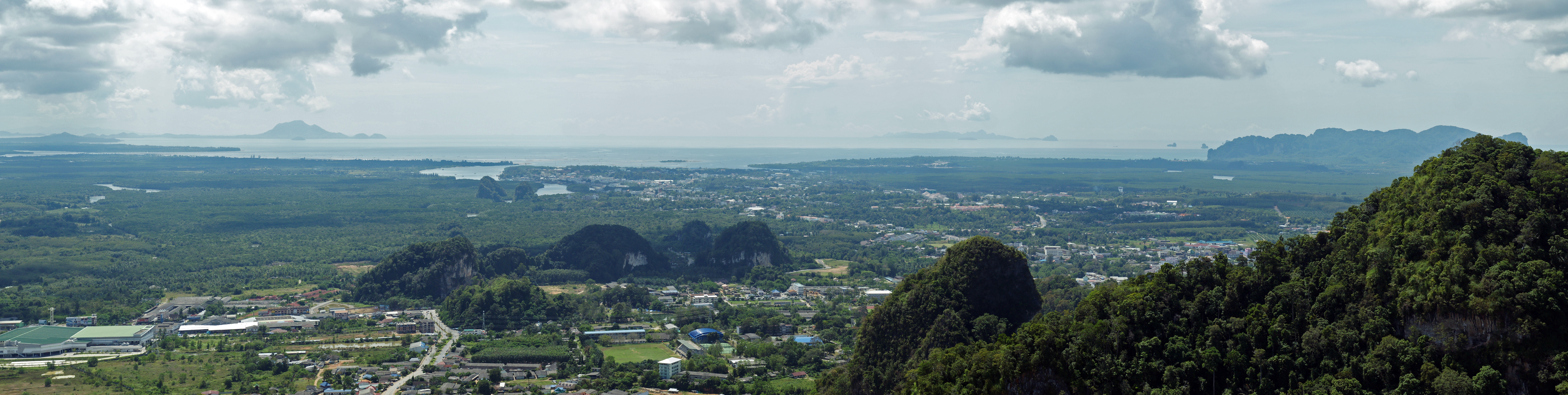 Panoramic view over Krabi from Tiger Cave Temple.