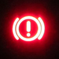 Brake warning light. The light is turned on, i...