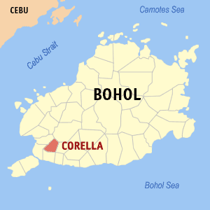 Map of Bohol showing the location of Corella