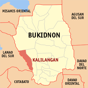 Map of Bukidnon showing the location of Kalilangan