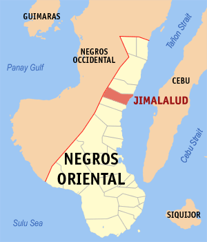 Map of Negros Oriental showing the location of Jimalalud