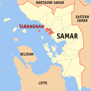 Map of Samar showing the location of Tarangnan