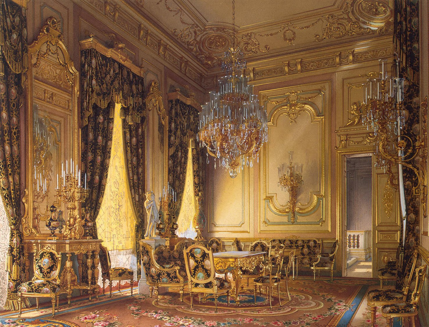 Paintings of exquisite palace interiors: Luigi Premazzi, Mansion of Baron A. L. Stieglitz. The Golden Drawing-Room, ca. 1870, The State Hermitage Museum, St. Petersburg, Russia.