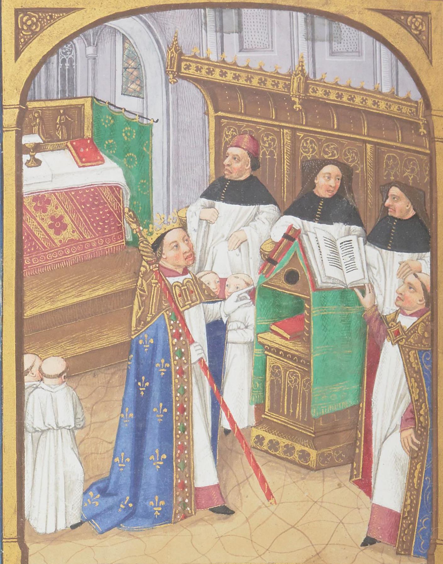 ŒUVRES CHRÉTIENNES DES FAMILLES ROYALES DE FRANCE - (Images et Musique)- année 1870  Robert_le_Pieux_-_Grandes_Chroniques_de_France_-_BNF_Fr2609_f144v