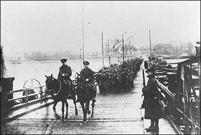 Allied soldiers of the Royal Newfoundland Regiment crossing the Rhine into Germany after the end of WWI, December 1918 Royal Newfoundland Regiment crossing the Rhine into Germany.jpg