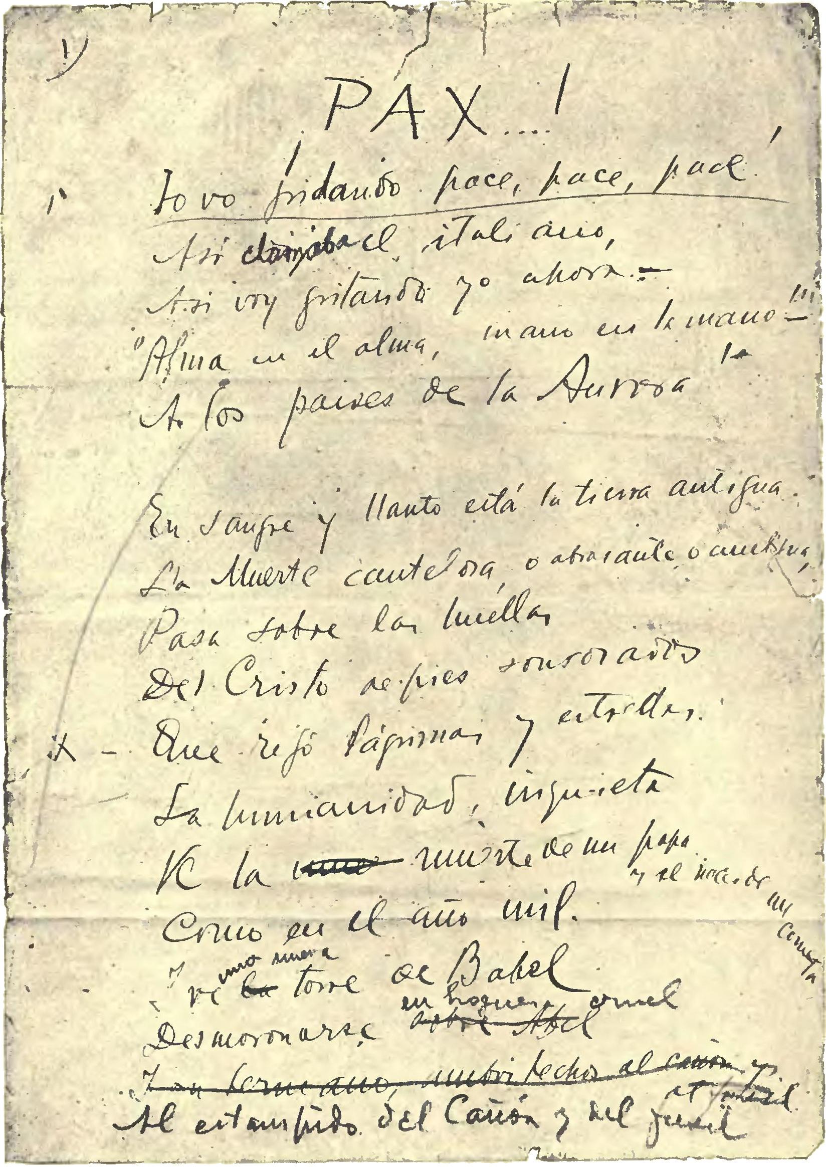 Facsímil del poema Pax de Rubén Darío.