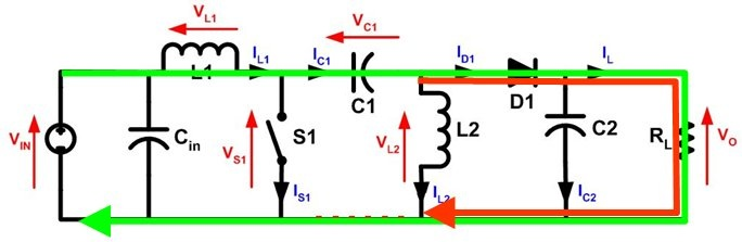 Figure 3: With S1 open current through L1 (green) and current through L2 (red) produce current through the load S1 open.jpg