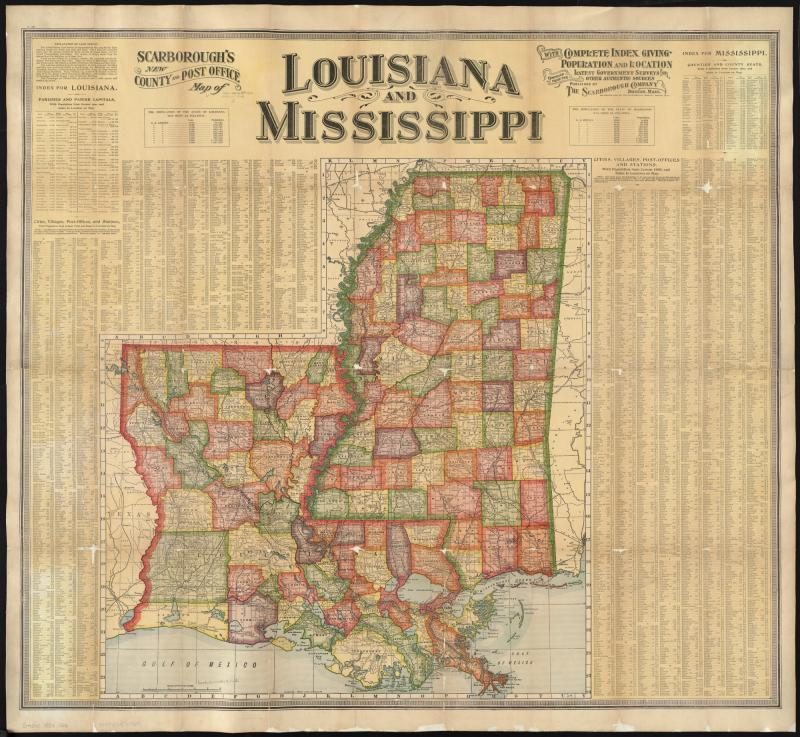 FileScarboroughs New County And Post Office Map Of Louisiana And - County map of louisiana