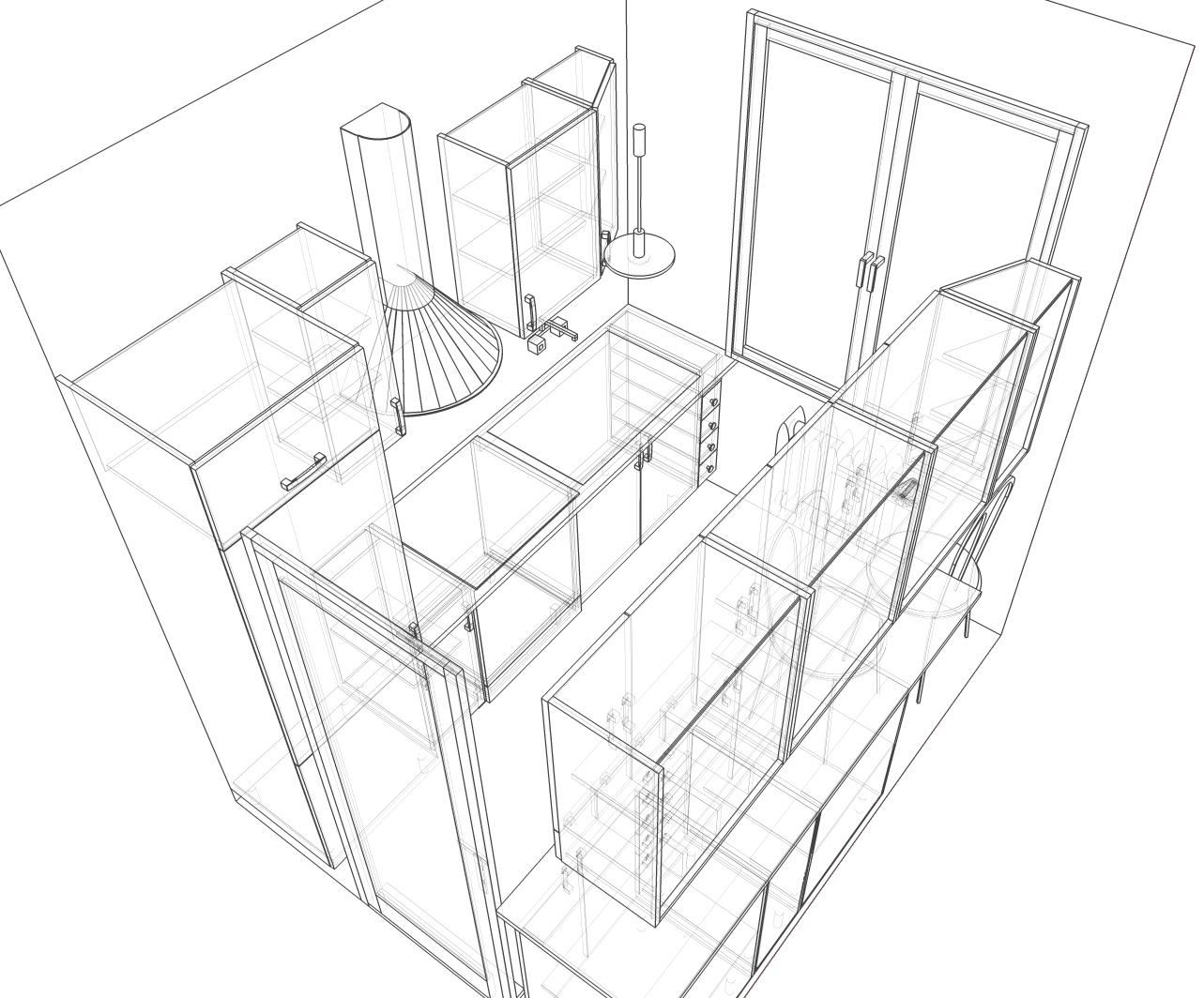 Kitchen perspective drawing - File Small Kitchen Perspective Sketch Png