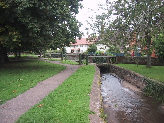 Stream Runs between the Houses and the Green at Otterton - geograph.org.uk - 956341