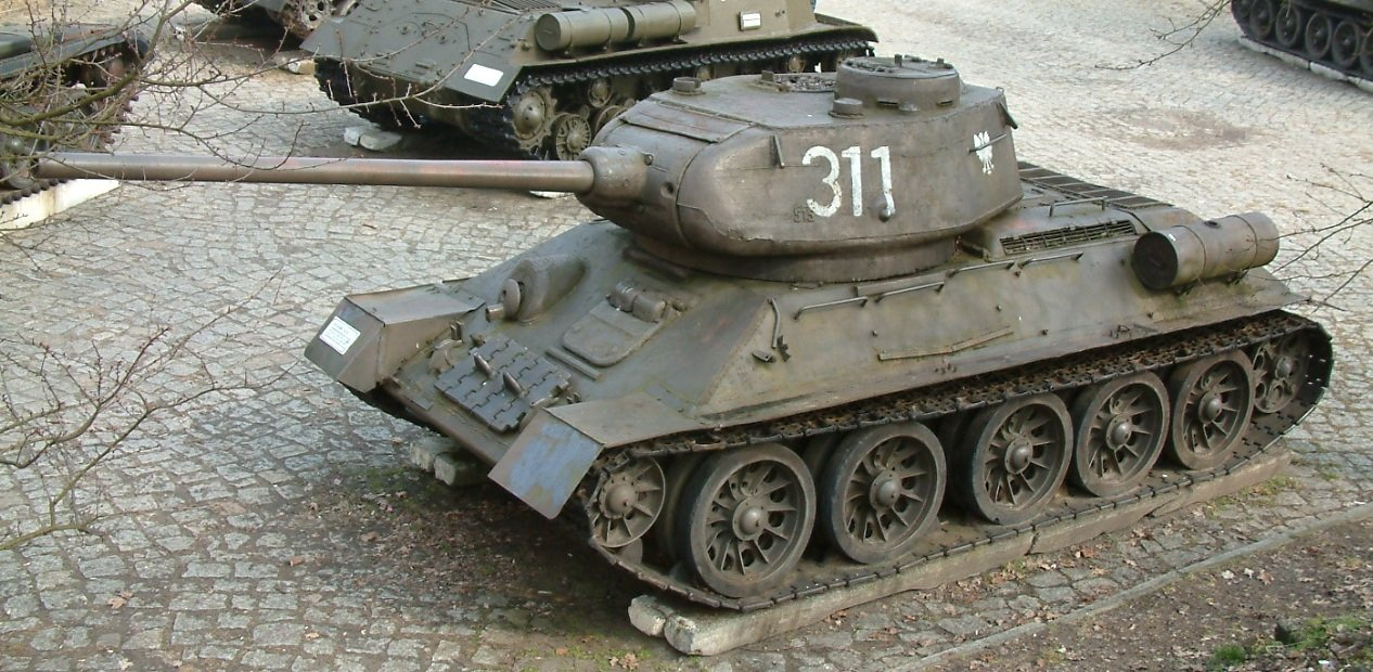 A Polish T-34/85 in 1945. Notice the Polish eagle on the turret. The T-34/85 was a massive export success. The last were seen fighting in ex-Yugoslavia in 1996.