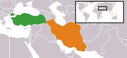 Map indicating locations of Turkey and Iran