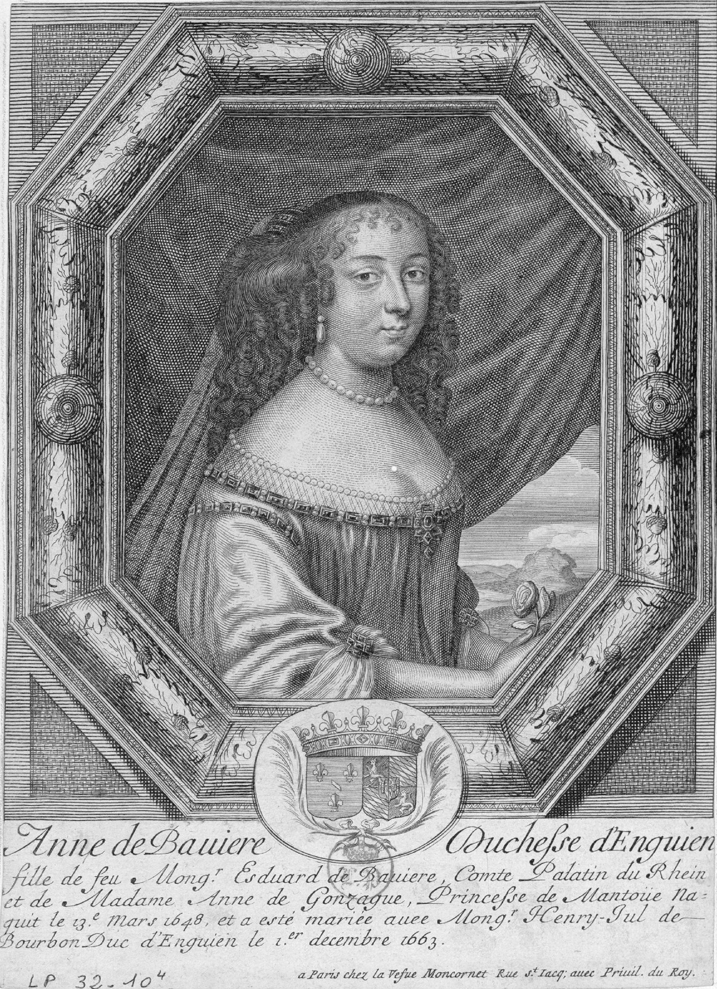 Undated engraved portrait of Anne de Bavière by Marguerite Van der Mael