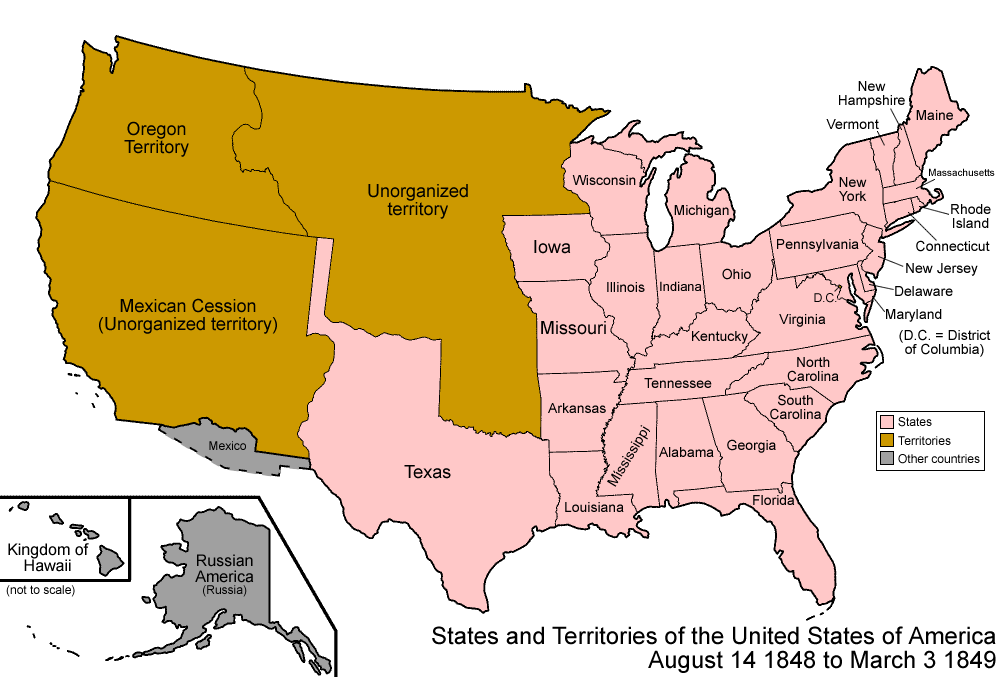Us Map Of 1848 File:United States 1848 08 1849.png   Wikimedia Commons