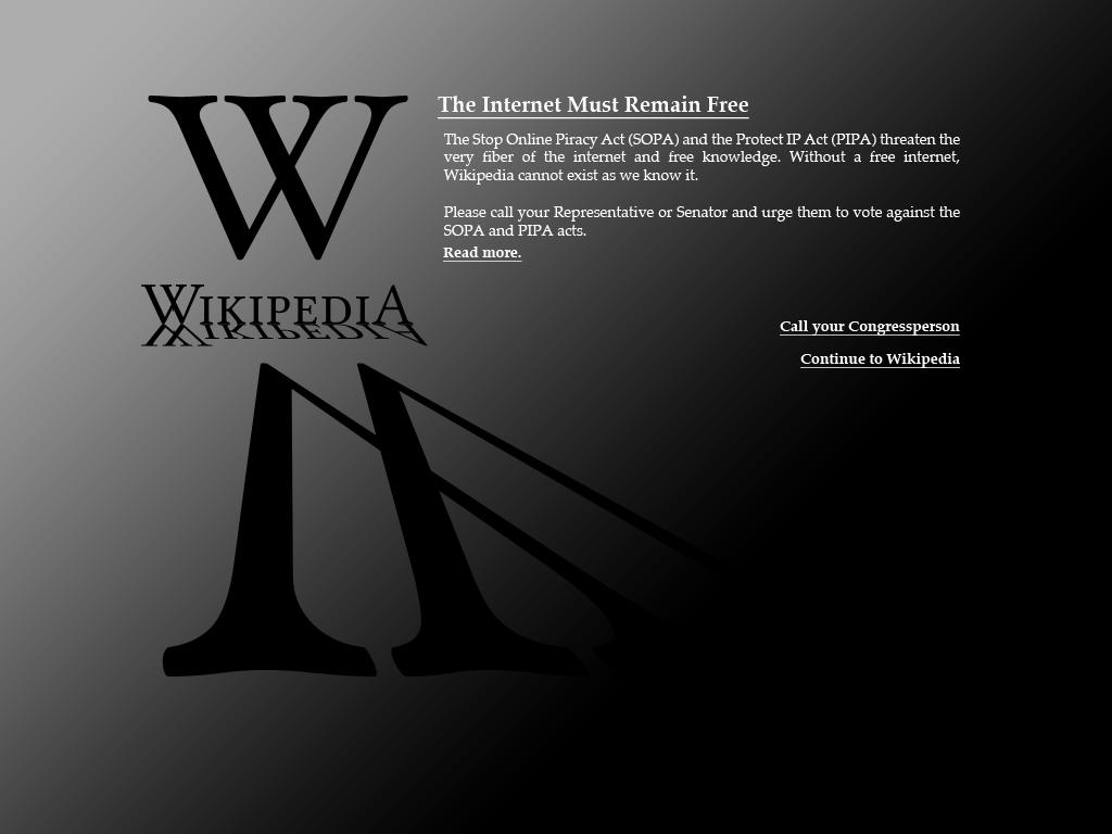 Wikipedia: Wikipedia:SOPA Initiative/Blackout Screen Designs