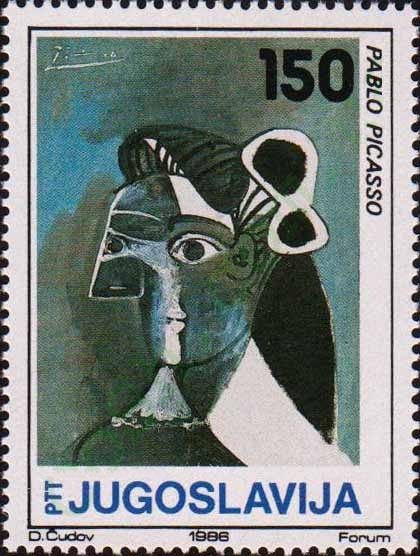 Woman's Head by Picasso 1986 Yugoslavia stamp