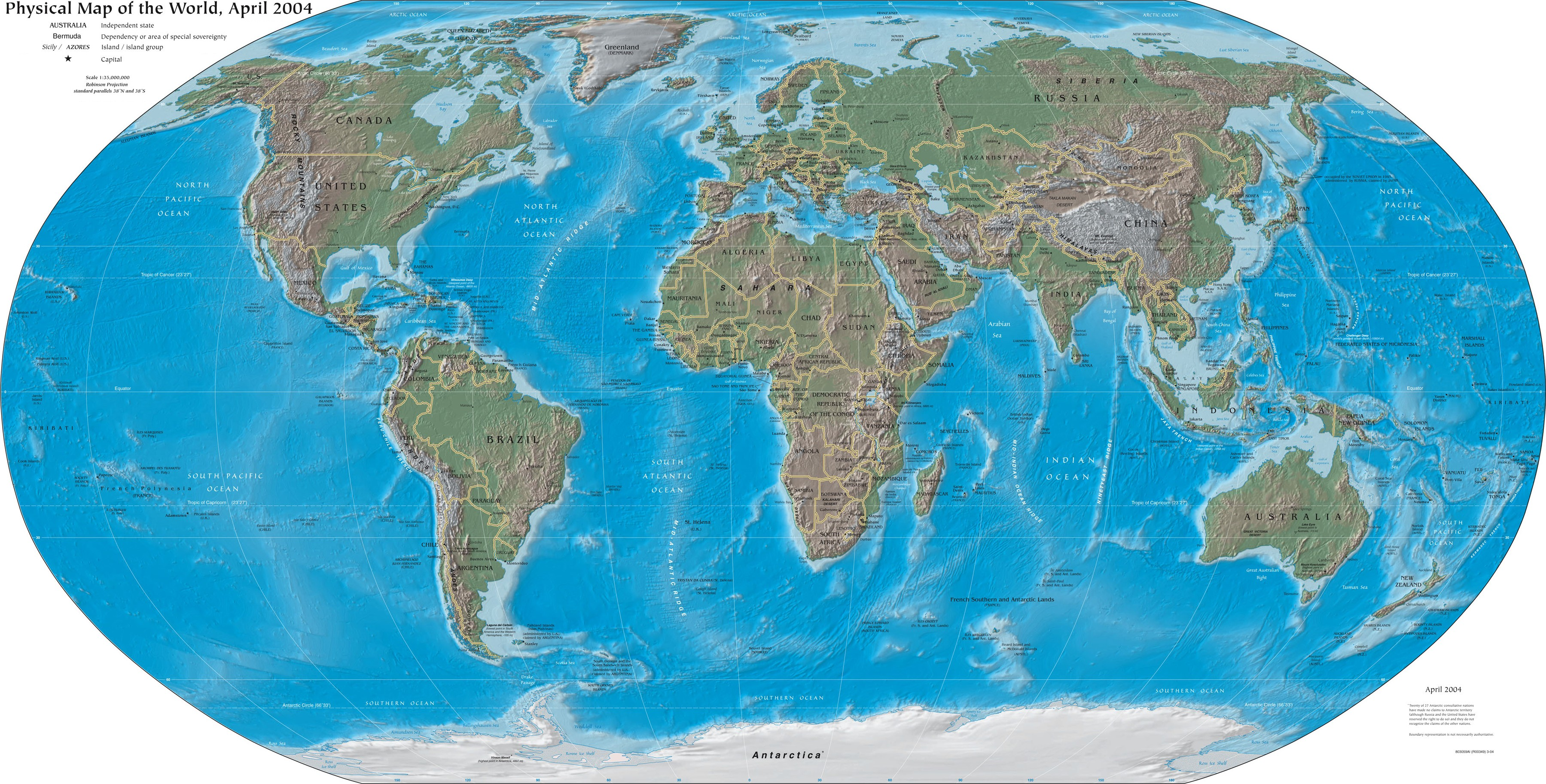 World map (2004, CIA World Factbook)
