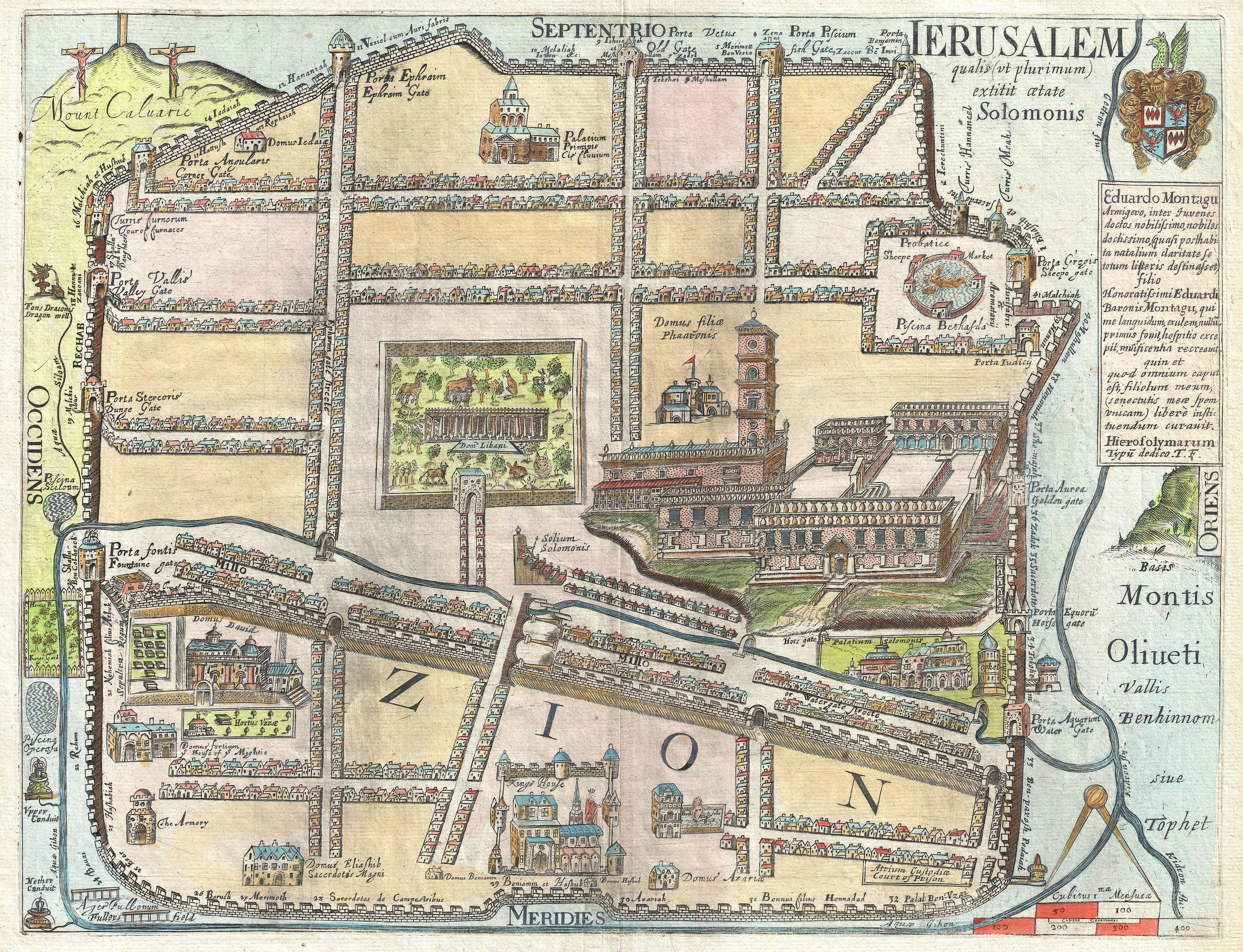 File:1650 Fuller Map of Jerusalem ( Israel, Palestine, Holy Land ...